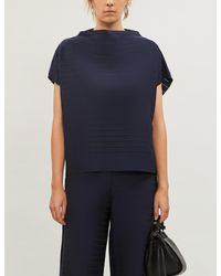 Issey Miyake Striped Relaxed-fit Nylon-blend Top - Blue