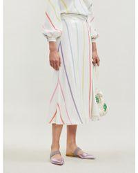 Olivia Rubin Astrid Split-hem High-waist Striped Sequinned Midi Skirt - White