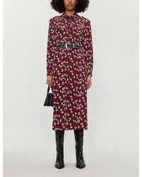 TOPSHOP Petite Burgundy Floral Trapeze Midi Shirt Dress - Red