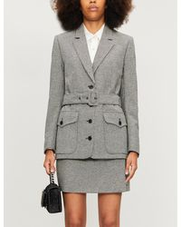 The Kooples Checked Buttoned-down Wool-blend Mini Skirt - Gray