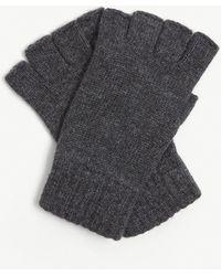 Johnstons Fingerless Cashmere Gloves - Grey