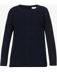 The White Company Button-back Cotton-blend Knit Jumper - Blue