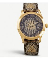 Gucci Bee And Logo-embossed Leather Watch - Metallic