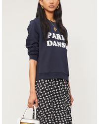 Claudie Pierlot Slogan-print Cotton-blend Sweatshirt - Blue