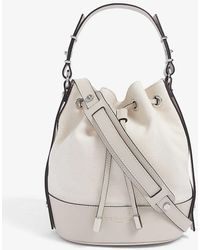 The Kooples Tina Small Brand-embossed Leather Bucket Bag - Natural
