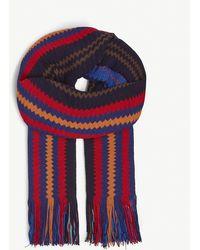 Missoni Zig-zag Stripe Knitted Scarf - Blue