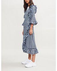 Ganni - Ruffled Wrap Front Dress - Lyst