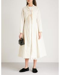 Renli Su - Self-tie Striped Cotton And Linen-blend Coat - Lyst