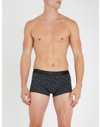 Emporio Armani - Eagle-print Slim-fit Stretch-cotton Trunks - Lyst