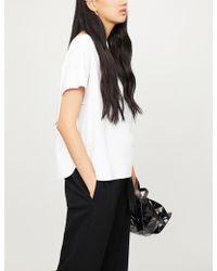 Issey Miyake Ladies White Dot-detail Woven Jersey Top