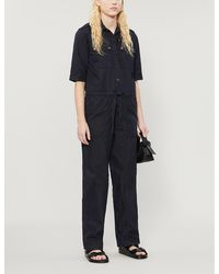 Zadig & Voltaire Catsy Relaxed-fit Cotton-blend Jumpsuit - Blue