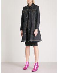 Mo&co. - Topstitched Denim Mini Dress - Lyst