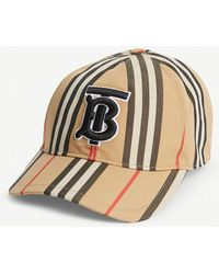 Burberry Icon Stripe Logo-embroidered Cotton Baseball Cap - Natural