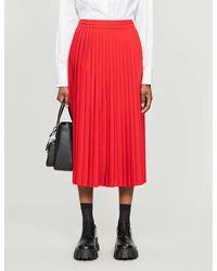 Prada Pleated Crepe Midi Skirt - Red