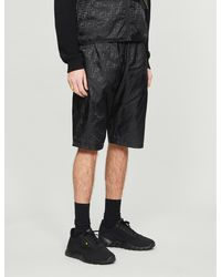 Fendi Brand-pattern Straight Shell Drawstring Shorts - Black