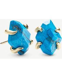 Kendra Scott Inaiyah 14ct Gold-plated And Aqua Howlite Earrings - Metallic