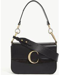 Chloé C Small Leather Shoulder Bag - Black