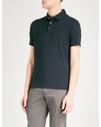 Emporio Armani - Logo-embroidered Stretch-jersey Polo Shirt - Lyst