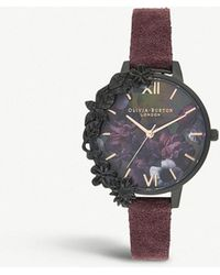 Olivia Burton - Ob16ad44 After Dark Ion-plated Stainless Steel And Suede Strap Watch - Lyst