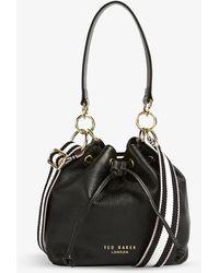 Ted Baker Aminah Webbing-strap Leather Bucket Bag - Black