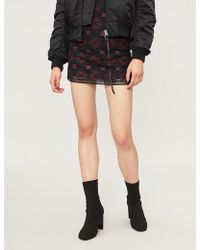Pinko - Lavagna Geometric-pattern Woven Mini Skirt - Lyst