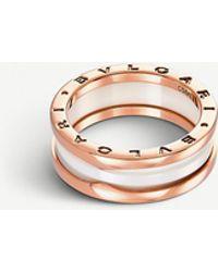 BVLGARI Bzero1 Two-band 18ct Pink-gold and Ceramic Ring - Metallic