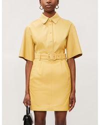 REMAIN Birger Christensen Flora Belted Leather Mini Skirt - Yellow