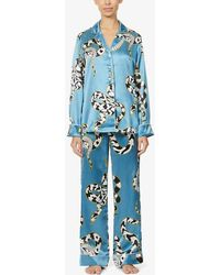 Olivia Von Halle Lila Snake-print Silk-satin Pyjamas - Blue
