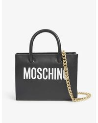 Moschino Logo-print Mini Leather Cross-body Belt Bag - Black