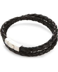 Tateossian - Double-wrap Scoubidou Leather And Sterling Silver Bracelet - Lyst