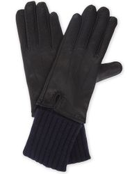 Sandro - Leather Gloves With Wool And Cashmere Inserts - Lyst