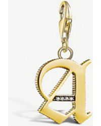 Thomas Sabo Vintage 'a' Letter 18ct Yellow Gold-plated Charm - Metallic