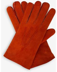 Eleventy Leather And Shearling Gloves - Red