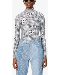Marine Serre - Moon-print Fitted Turtleneck Stretch-jersey Top - Lyst