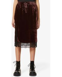 Zadig & Voltaire Jillian Lace-trimmed Velvet Midi Skirt - Black