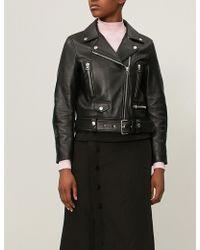 Acne Studios - Mock Cropped Leather Biker Jacket - Lyst