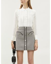 Maje Crochet-lace Panel Crepe Blouse - White
