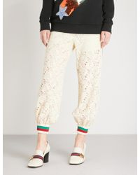 Gucci - Web-trim Relaxed-fit Lace Trousers - Lyst