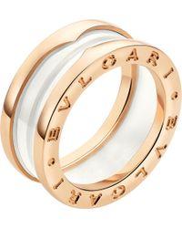 BVLGARI - B.zero1 Two-band 18kt Pink-gold And Ceramic Ring - Lyst