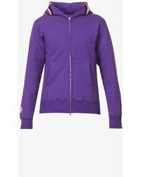A Bathing Ape Shark-print Zip-up Cotton-jersey Hoody - Purple