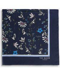 Ted Baker Brushpo Floral-print Silk Pocket Square - Blue
