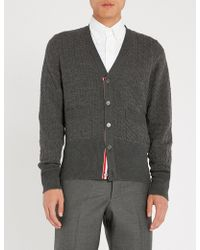 Thom Browne - Cable-knit Wool And Cotton-blend Cardigan - Lyst
