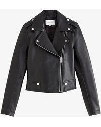 Claudie Pierlot Biker-collar Leather Jacket - Black