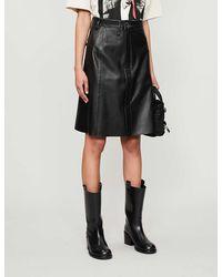 Acne Studios Asymmetric High-waist Leather Midi Skirt - Black
