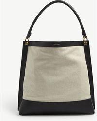 Saint Laurent Colour-block Leather And Canvas Hobo Bag - Black
