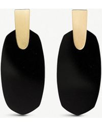Kendra Scott - Aragon 14ct Gold-plated And Black Opaque Glass Drop Earrings - Lyst