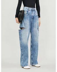 Maison Margiela Wide-leg Faded Ripped High-rise Jeans - Blue