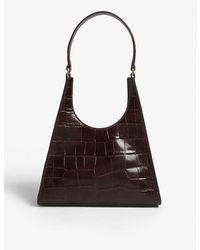 STAUD Rey Small Croc-embossed Leather Bag - Brown