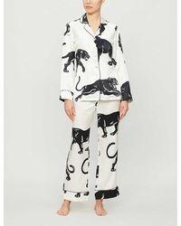Olivia Von Halle Lila Panther-print Silk Pyjamas - Multicolour