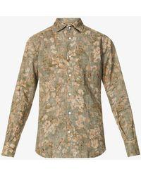 Slowear Floral-print Linen And Cotton-blend Shirt - Blue